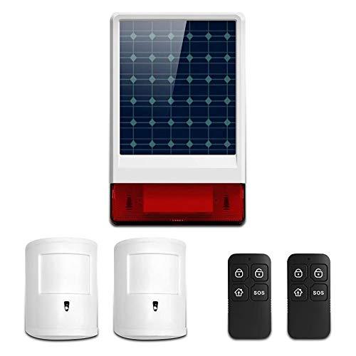 Wolf-Guard Sistema de alarma casera GSM, sirena solar de 433 MHz con detector de movimiento anti-mascota y control remoto, control de APP