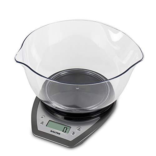 Salter Balance de cuisine électronique avec Bol 2 litres - Pèse les aliments / liquides en grammes, ml, onces, livres - Deux becs verseurs - Facile à lire - Fonction Tare - Noir et argenté