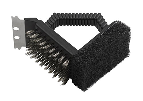 Brosse de nettoyage pour grille Dancook - (produit n°120 152), grattoir à encoches et brosse double, noire.