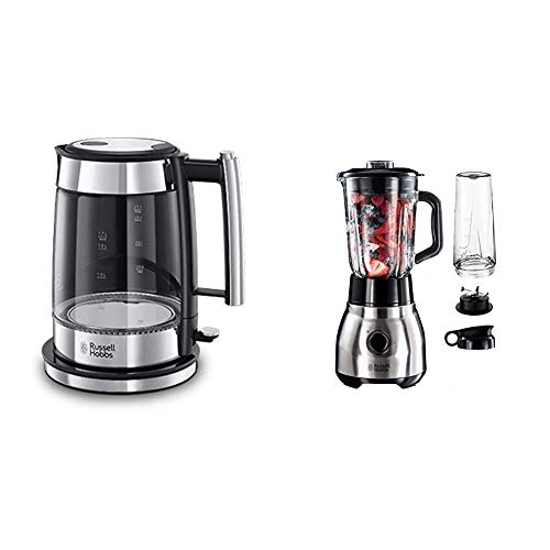 Russell Hobbs Wasserkocher, Glas Elegance, 1.7l, 200W & Standmixer Glas Steel 2-in-1, inkl. To-Go-Becher & Deckel, 1.5l Glasbehälter, Mixer 0.8 PS-Motor, Impuls-/Ice-Crush Funktion