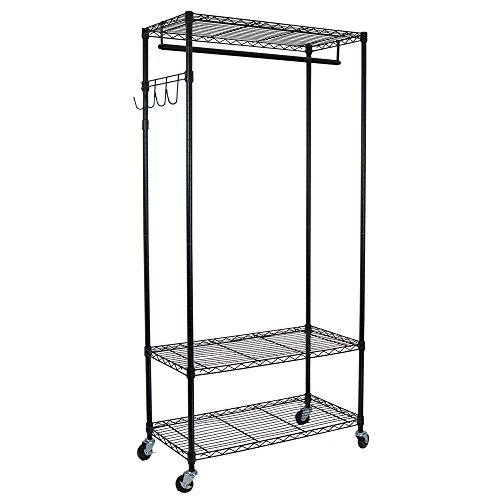 Oceanstar Adjustable Shelves with Hooks Garment Rack, Black