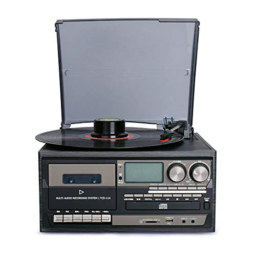 Bluetooth vinyl record speler 3 Speed ​​​Vintage platenspeler CD & cassettespeler AM/FM-radio USB-recorder Aux-in RCA line-out-afstandsbediening