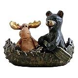 Canoeing Moose & Black Bear Figurine