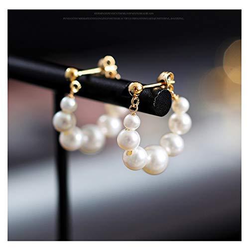 OUMIFA Pendientes de Perlas Pendientes de Perlas de Agua Dulce Brillante de 3-7mm Novia 14k Oro Pendientes de Perlas de Agua Dulce