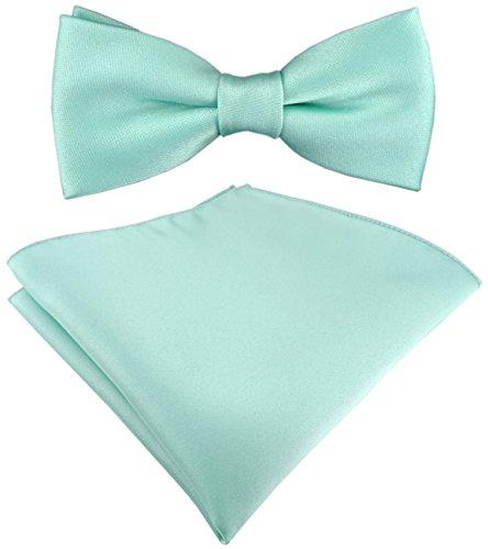 TigerTie Set Kleinkinder Baby Fliege mint grün einfarbig mit Gummizug 29 bis 40 cm Halsumfang verstellbar + Einstecktuch + Aufbewahrungsbox