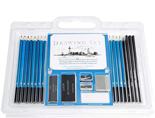 YOTINO 26 Pieces Professional Art Kit - Artist Drawing and Sketching Pencil Set with Pencils, Erasers, Sharpeners and Graphite Pencils - Art Supplies Sketch Set for Kids Adults