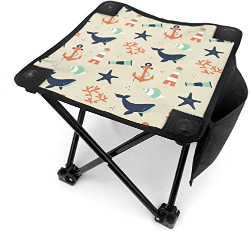 LLOOP Camping Stool Folding Whale Lighthouse Anchor Retro Portable Chair Camping Hunting Fishing Travel with Carry Bag