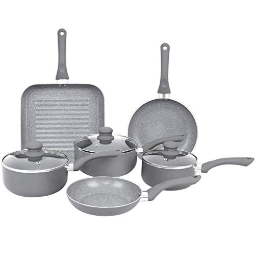 Gr8 Home Induction Aluminium 9 Piece Non Stick Grey Marble Effect Frying...