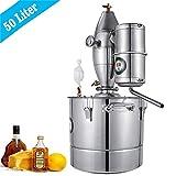 InLoveArts Home 11Gal Agua Alcohol Destilador Acero inoxidable, la caldera de vino con termómetro se utiliza para hacer el rocío puro de pétalos, aceites esenciales, vino de frutas, agua destilada.
