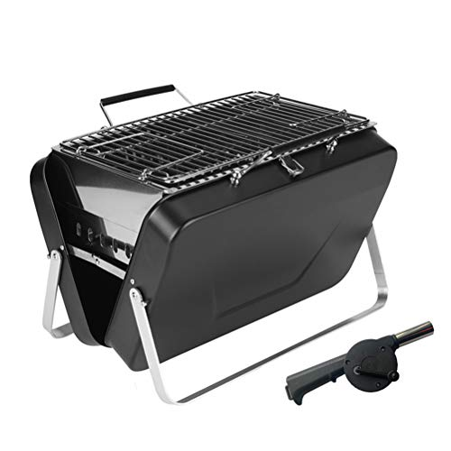 XIYAN Koffer Stil Holzkohle Grill, tragbarer Grillgrill Grill Picknick für Camping-Festivals Reisen BBQ mit Gebläse