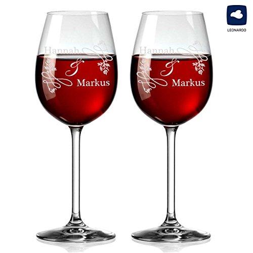 polar-effekt 2 Leonardo Weingläser Personalisiert mit Gravur - Rotwein-Glas Geschenkidee für Paare - Motiv Hochzeitsornament