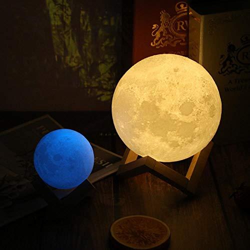 Lámpara De Mesa Romántica Creativa Luz De Luna Luminosa De Amazon Color De Color Táctil Luz De Luna Impresión 3D Regalo De Cumpleaños Accesorios Para El Hogar@12Cm Multicolor_Toque
