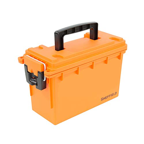 Sheffield 12630 Plastic Field Box | Locking Ammo Case Storage Bin or Fishing Kit | Water Resistant amp TamperProof w/ 3 Locking Options | Interlocking Stackable Design Great for Storage | Orange