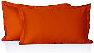 250 Thread-Count Super Soft Quality Egyptian Cotton Standard/Queen Size House Wife Pillow Cases, Orange Solid 250 TC