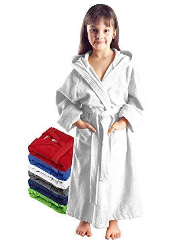 Arus Kinder-Bademantel mit Kapuze für Jungen und Mädchen, 100% Baumwolle Frottee, lang, Weiß, 128
