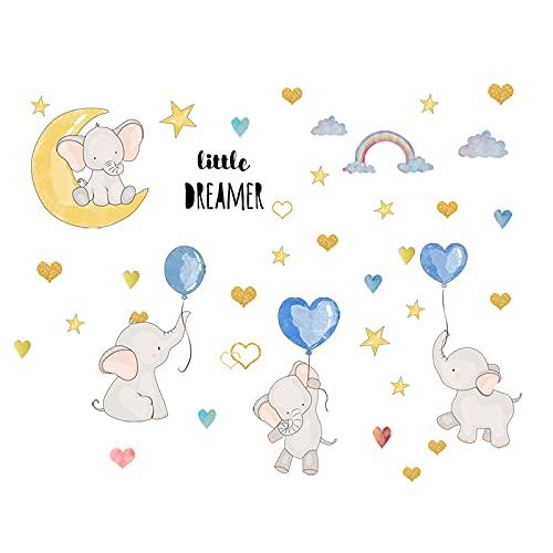 Adhesivo de pared de vinilo extraíble para pared, diseño de elefante, globo colorido con elefante, corazones y estrellas, pegatinas de pared para niños
