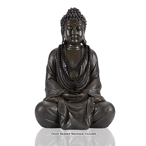 17' Large Meditating Zen Buddha Statue Figurine Sitting Sculpture Decoration, Art Decoration with Natural Wood Beaded Necklace, Polyresin, Antique Bronze Look(17 Inch)