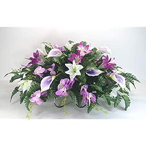 R19 Purple, White and Lavender Lilies Mix Cemetery Flower Arrangement, Headstone Saddle, Grave, Tombstone Arrangement, Cemetery Flowers