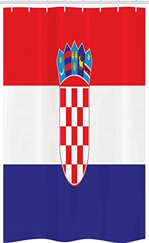ABAKUHAUS Kroatien Schmaler Duschvorhang, Einfaches Design Flagge Druck, Badezimmer Deko Set aus Stoff mit Haken, 120 x 180 cm, Vermilion Indigo Weiß