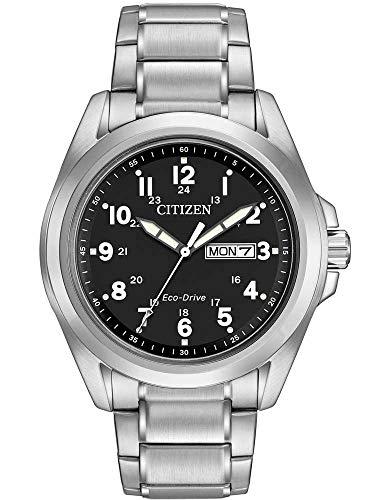 Citizen Watch Herren Armbanduhr Solar Powered Komfort mit schwarzem Zifferblatt Analog-Anzeige und Silber Edelstahl Armband aw0050–82E