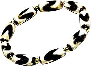 XQDY Armband für Frauen und Männer Tibetisches Auge Dzi Perlen Schutz Amulette ziehen Positive Energie und viel Glück Schmuck Geschenk an (Color : DZI09)