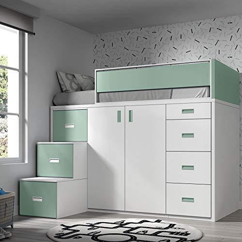 ROS Möbel Hochbett mit Schrank und Schubladen, 165x204x165cm