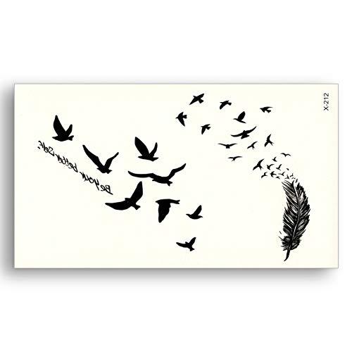 Schwarze Tattoo-Aufkleber Abnehmbare Wasserübertragung Gefälschte Tattoos Einweg-wasserdichte temporäre Aufkleber Flying Birds Feather