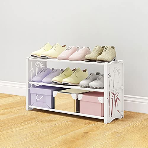 Banco de Zapatos Tallero De Zapatos, Ahorro De Espacio Plastic Shoe Rack Organizer Ideal Para Entrada De Vestimenta De Entrada Garaje De Vestíbulo, Zapato De Plataforma Blanca Rosa Zapatero para el ho