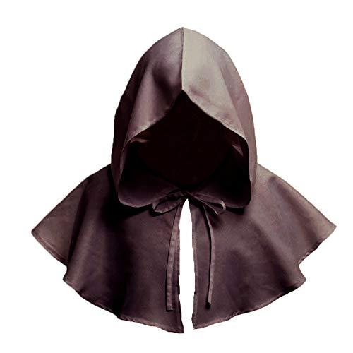 Naisidier Unisex Jahrgang Gugel Halloween-Kostüm Zubehör Halloween Cosplay mit Kapuze Cape Zubehör Mittelalterliche Retro-Haube für Partei 1pc Brown