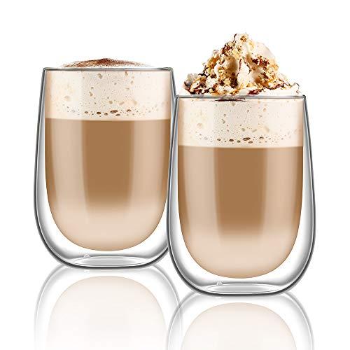hirmit Doppelwandige Gläser Set Kaffeetassen 350ML Trinkgläser für Espresso Tee Latte Cola Cappuccino Getränk