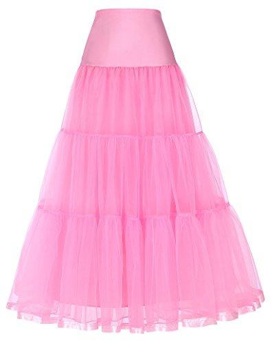 Grace Karin® knöchellanger Unterrock für langes Brautkleid, 50er-Jahre-Petticoat-Stil Gr. M, 421#Pink
