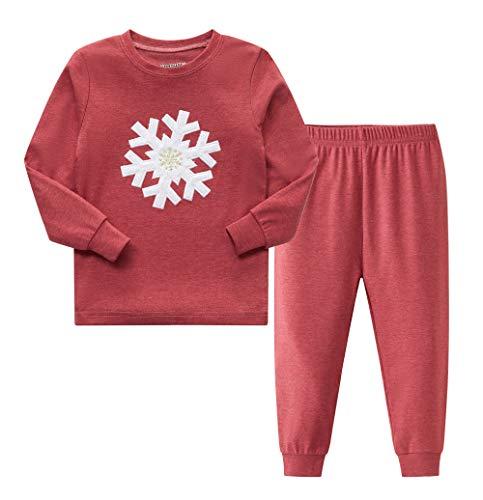 AMGLISE Boys and Girls Christmas Pajamas Set with Embroidered snowflake Holiday Lodge Design 6