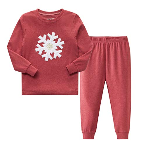 AMGLISE Boys and Girls Christmas Pajamas Set with Embroidered snowflake Holiday Lodge Design 6