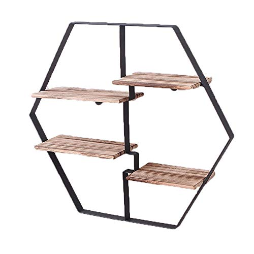 PLHMS plank boekenplank retro slaapkamer woonkamer houten muur smeedijzeren plank massief hout opknoping muur bloem standaard muur decoratie muur opknoping
