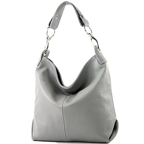 modamoda de - T168 - ital Schultertasche Umhängetasche aus Leder, Farbe:Grau