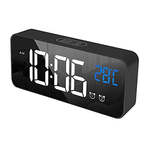 IWILCS Despertador digital LED, reloj digital LED, alarma regulable, con alarma, repetición de alarma, indicador de temperatura, función de control de voz, para dormitorio, oficina, 4 luminosidades