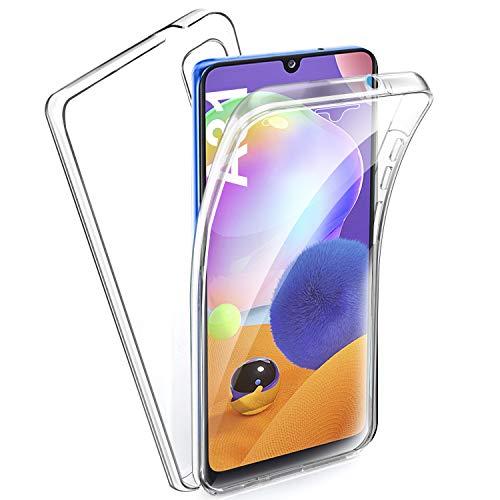AROYI Cover Samsung Galaxy A31, Samsung Galaxy A31 Custodia Transparent Silicone TPU e PC Full Body Protettiva Premium Resistente Ai Graffi Case Cover per Samsung A31