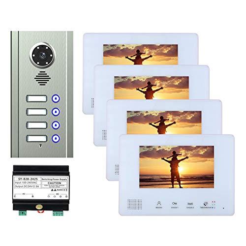 Bus 2 timbre de video de cables, kit de intercomunicador de videoportero para apartamento en casa, cámara de visión nocturna + monitor de 7 pulgadas,4 units