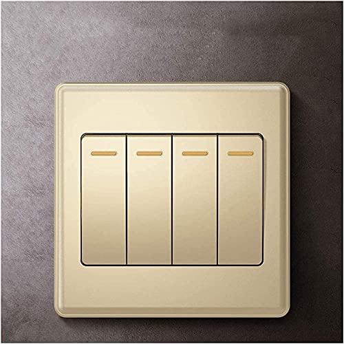 PJDOOJAE 4GANG 1WAY / 2WAY PUSH BOTONES CONTECTUOS CHAMPAGNE GOLD 86 ROCKER SHIRT SHIRT PLACHS CONSUMIDOR Y LÁMPARA COMPROMISO Lámpara Lámpara Durable Interruptor de llave de PC a prueba de polvo con