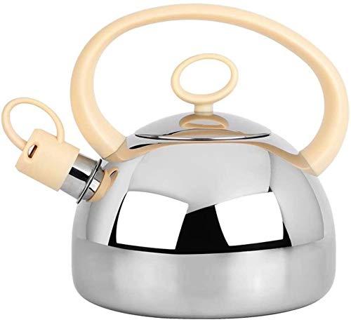 Bouilloire induction Bouilloire pratique Grande bouilloire de sifflement en acier inoxydable 2L argent cuivre cuivre chauffage électrique cuisinière à bois maison 20x21cm WHLONG