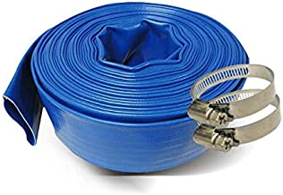Schraiberpump 2-Inch by 100-Feet- General Purpose Reinforced PVC Lay-Flat Discharge and Backwash Hose - Heavy Duty (4 Bar) 2 CLAMPS INCLUDED