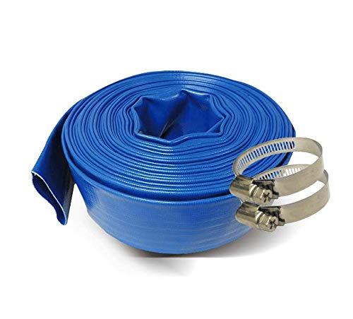 Schraiberpump 3-Inch by 100-Feet- General Purpose Reinforced PVC Lay-Flat Discharge and Backwash Hose - Heavy Duty (4 Bar) 2 CLAMPS INCLUDED