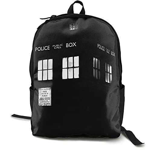 Tardis Monocromo Doctor Who - Mochila de viaje con luz para teléfono y teléfono