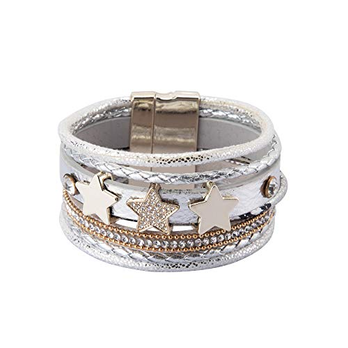 NovaLuna – Wickelarmband 'Triple Star' mit Strass, DREI Stern Amuletten und Magnet-Verschluss - Damen Armband Accessoire Glitzer Steine Schmuck Armschmuck in Wolf GRAU
