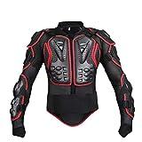 バイク用 バイクウエア モトクロス オフロード 上半身プロテクター 上質 2色 (黒赤, L)