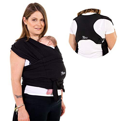 Koala Babycare® Baby Tragetuch-Leichtes Anziehen (Easy-On) - Unisex - Babytrage Neugeborene Multi-Use Bis 10kg - Babytragetuch Schwarz - Koala Cuddle Band - eingetragenes Design KBC®