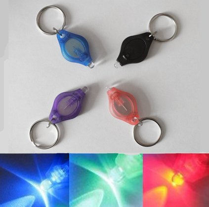 Pack de 5x Intermitente LED multicolor llavero linterna. Ideal para añadir a de perro cuellos para la seguridad en la noche