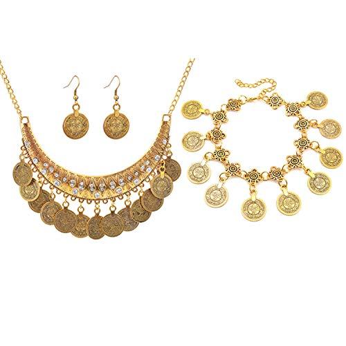 PPX 4 Stück Vintage Metallic Münze Ohrring Armband Und Halskette Set Schmuckset Boho-Stil Bib Front