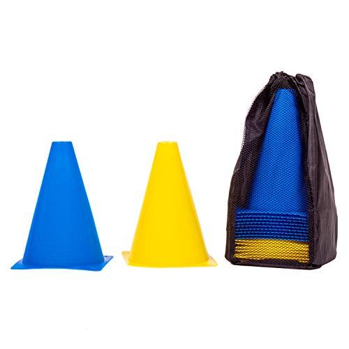 8LevelUp Pylonen 20er Set - 18 cm Hütchen (10 gelbe und 10 Blaue Kegel - flexibel, sicher und robust) mit Tasche für Fußball, Reitsport, Hundetraining, Pferdetraining, Agility Training für Hunde