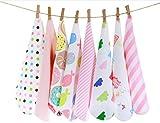 CuteOn Paquete de 8 Súper Suave Bebé Washcloth Alimentación Limpiar Paño para Recién nacido Chicos & Chicas Rosado Gato